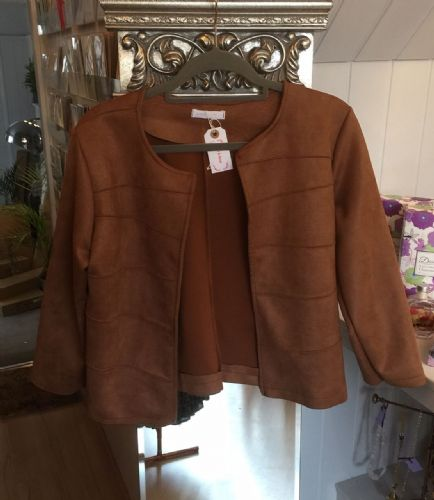 Faux Suede Ribbed Open Jacket - Camel